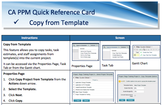 a quick reference card to assist as you copy tasks task estimates or staff assignments from templates into the current project within ca ppm