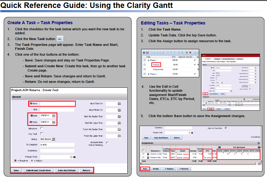 a single sheet document front and back that provides reminders on how to use the out of the box clarity gantt that was made available starting in v130
